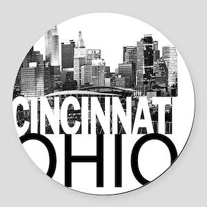 Cincinnati Skyline Round Car Magnet