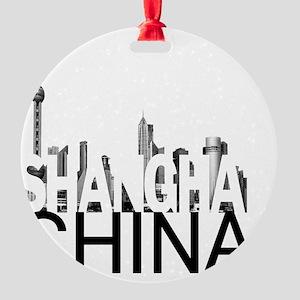 Shanghai Skyline Round Ornament