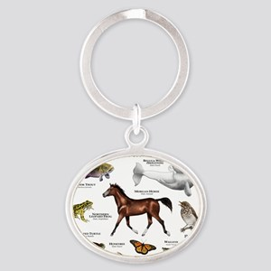 Vermont State Animals Oval Keychain