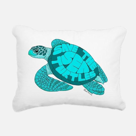 Teal Turtle Rectangular Canvas Pillow
