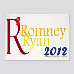 Romney Ryan Squared Yard Sign 5'x7'Area Rug