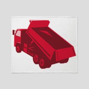 dump dumper truck dumping load rear Throw Blanket