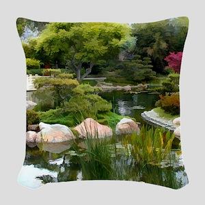 Japanese Garden Panorama copy Woven Throw Pillow