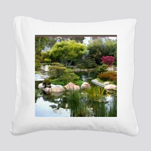 Japanese Garden Panorama copy Square Canvas Pillow