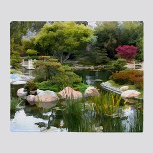 Japanese Garden Panorama copy Throw Blanket