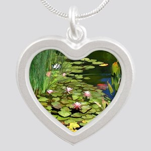Koi Pond and Water Lilies co Silver Heart Necklace