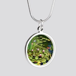 Koi Pond and Water Lilies co Silver Round Necklace