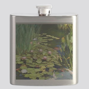 Koi Pond and Water Lilies copy Flask
