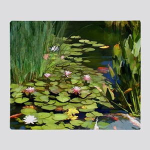 Koi Pond and Water Lilies copy Throw Blanket