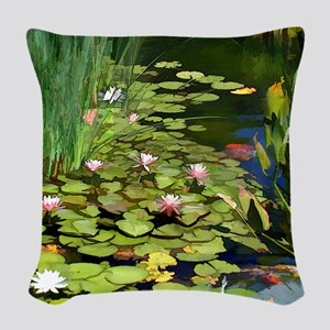Koi Pond and Water Lilies copy Woven Throw Pillow