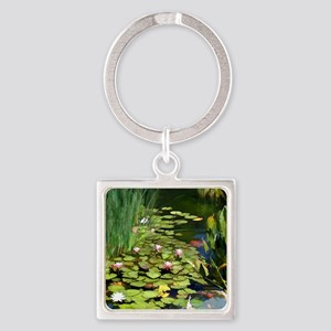 Koi Pond and Water Lilies copy Square Keychain