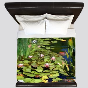 Koi Pond and Water Lilies copy King Duvet