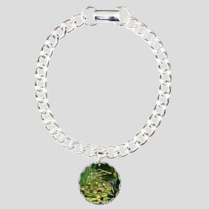 Koi Pond and Water Lilie Charm Bracelet, One Charm
