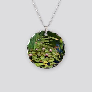Koi Pond and Water Lilies co Necklace Circle Charm