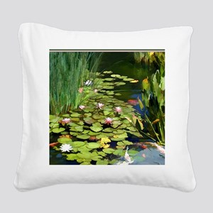 Koi Pond and Water Lilies cop Square Canvas Pillow