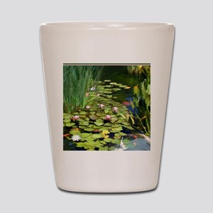 Koi Pond and Water Lilies copy Shot Glass