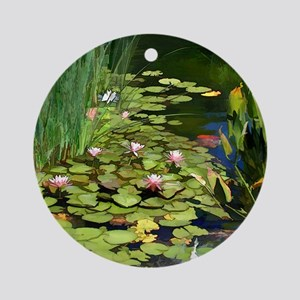 Koi Pond and Water Lilies copy Round Ornament