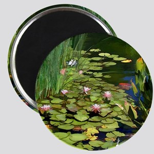 Koi Pond and Water Lilies copy Magnet