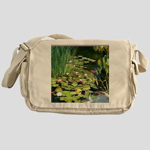 Koi Pond and Water Lilies copy Messenger Bag