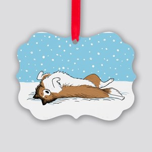sheltiesnowcard Picture Ornament