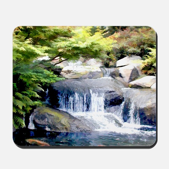 Japanese Garden Waterfall and Koi Pond Mousepad