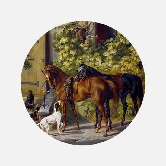 "Adam Albrecht - Horses at the Porch 3.5"" Button"