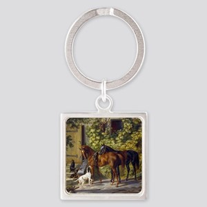Adam Albrecht - Horses at the Porc Square Keychain