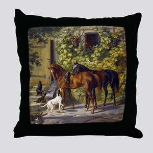 Adam Albrecht - Horses at the Porch Throw Pillow