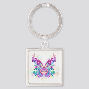 Decorative Butterfly Square Keychain