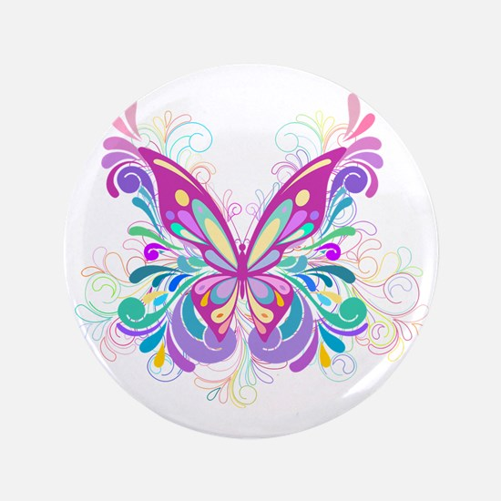 "Decorative Butterfly 3.5"" Button"