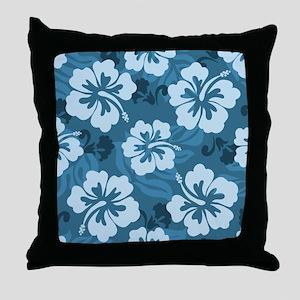 Blue Hibiscus Throw Pillow