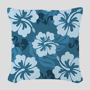Blue Hibiscus Woven Throw Pillow