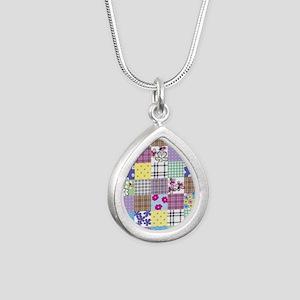 Patchwork Silver Teardrop Necklace