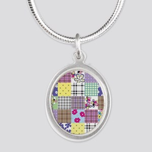 Patchwork Silver Oval Necklace