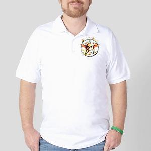 pentagram devil wingskull burning fire Golf Shirt