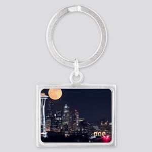 Seattle Space Needle Full Moon Landscape Keychain