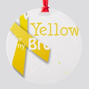I Wear Yellow for my Brother transp Round Ornament