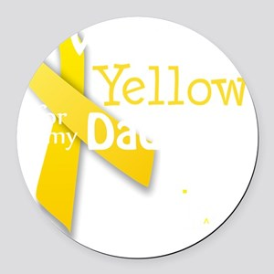 trans_i_wear_yellow_for_my_dad_up Round Car Magnet