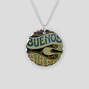 Buenos Aires fileteado Necklace Circle Charm