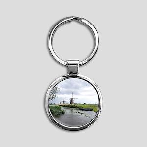 Dutch windmills Round Keychain
