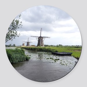 Dutch windmills Round Car Magnet