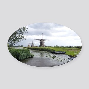 Dutch windmills Oval Car Magnet