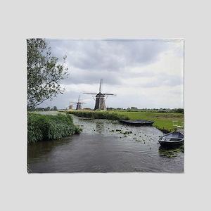 Dutch windmills Throw Blanket
