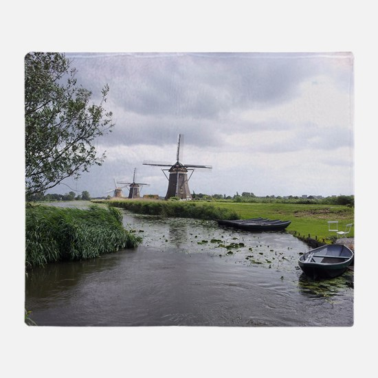 Dutch windmills Throw Blanket