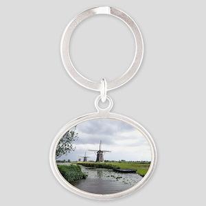 Dutch windmills Oval Keychain