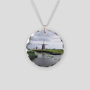Dutch windmills Necklace Circle Charm