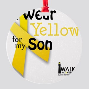 i_wear_yellow_for_my_son_updated Round Ornament