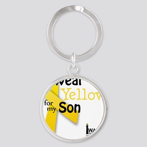 i_wear_yellow_for_my_son_updated Round Keychain