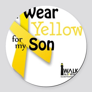 i_wear_yellow_for_my_son_updated Round Car Magnet