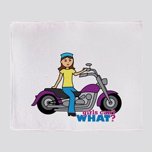 Biker Girl Throw Blanket
